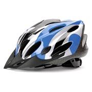 Cykelhjelm sort/blå/sølv junior 48-55