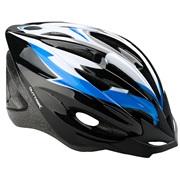Cykelhjelm sort/blå/hvid junior 48-55