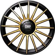 """Hjulkapsler 4 stk. 13"""" OMP Black/gold"""
