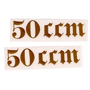 "Gotisk skrift ""50 ccm"" (2.stk) guld"