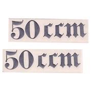"""Gotisk skrift """"50 ccm"""" (2.stk) sølv"""