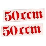 "Gotisk skrift ""50 ccm"" (2.stk) rød"